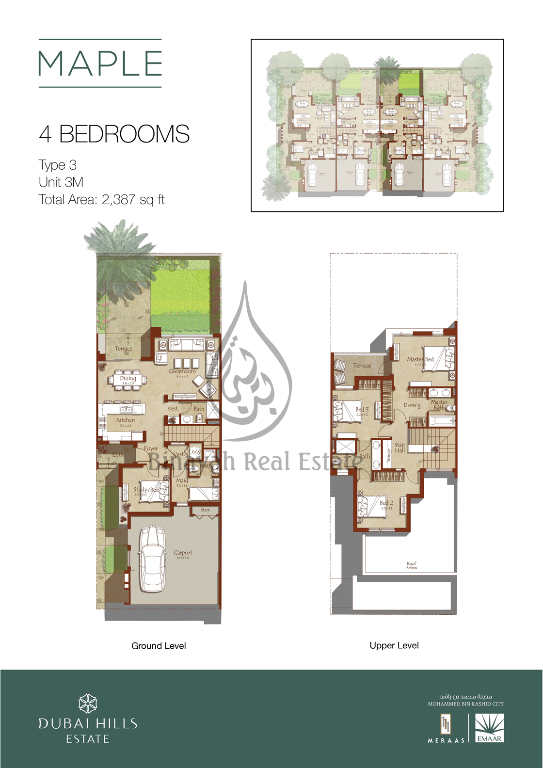 Maple by emaar properties at dubai hills estate for Townhouse layout 3 bedrooms
