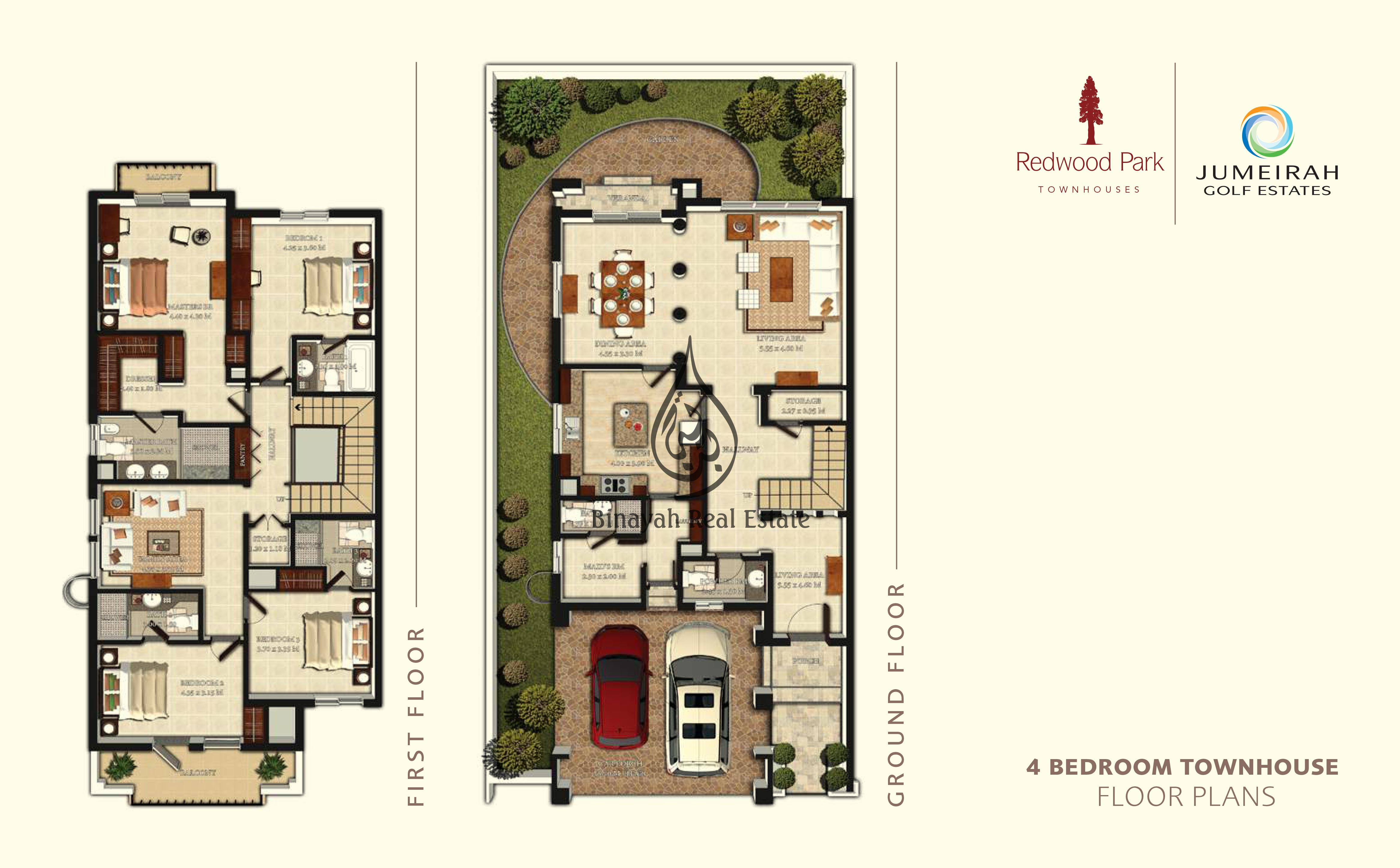 Jumeirah golf estates dubai villas townhouses apartments for Townhouse floor plans