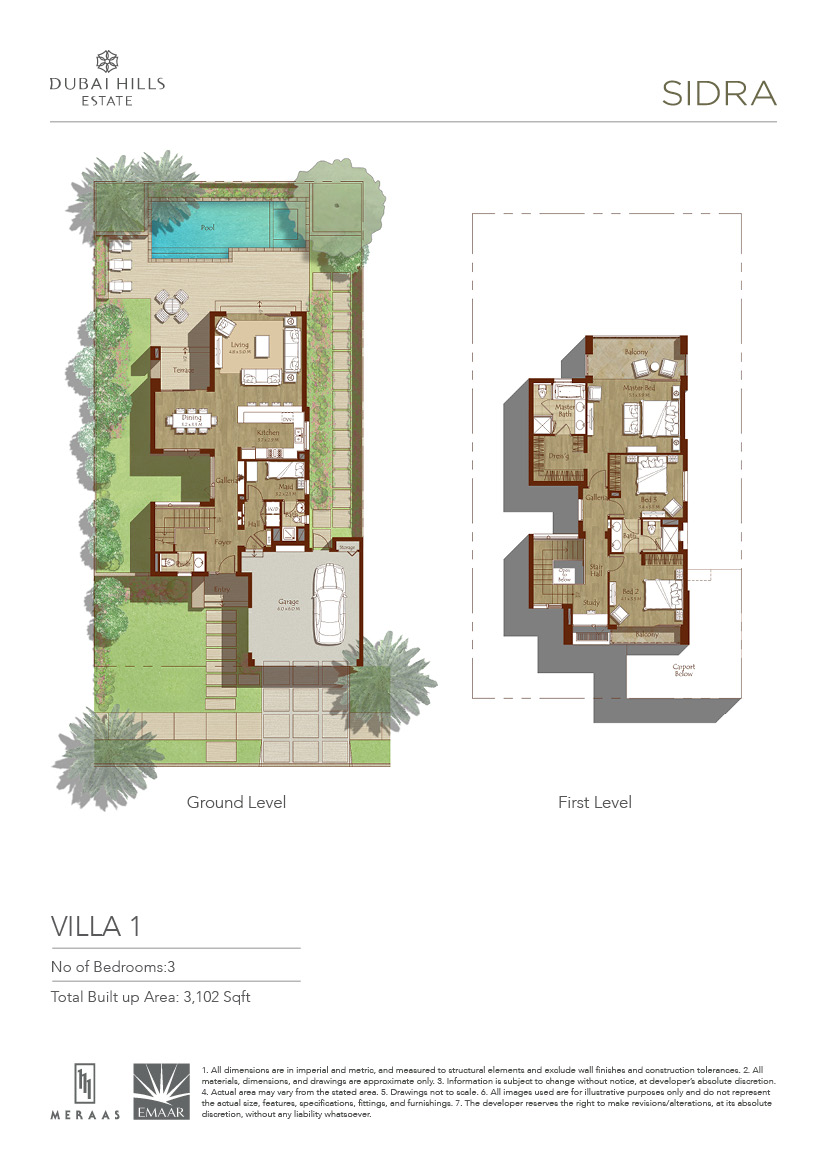 Residential land for sale in dubai hills estate 3 bedroom villa floor plans